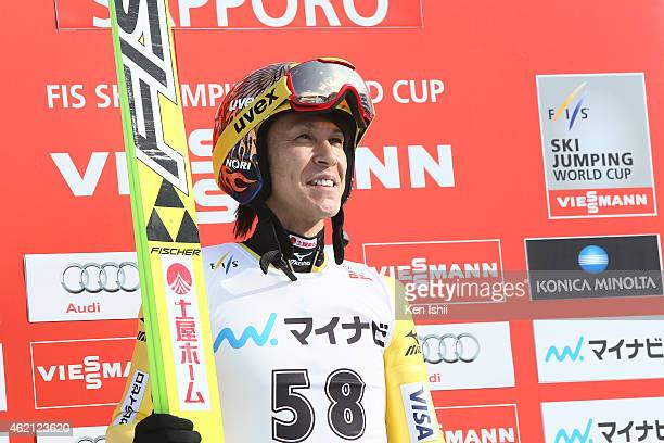 Noriaki Kasai of Japan looks on after the second round in the Large Hill Individual during the day two of FIS Men's Ski Jumping World Cup Sapporo at...