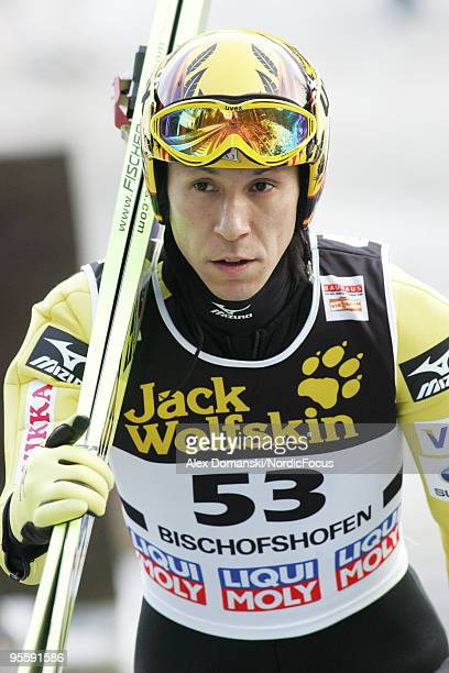 Noriaki Kasai of Japan looks on during the FIS Ski Jumping World Cup event of the 58th Four Hills Ski Jumping Tournament on January 05 2010 in...