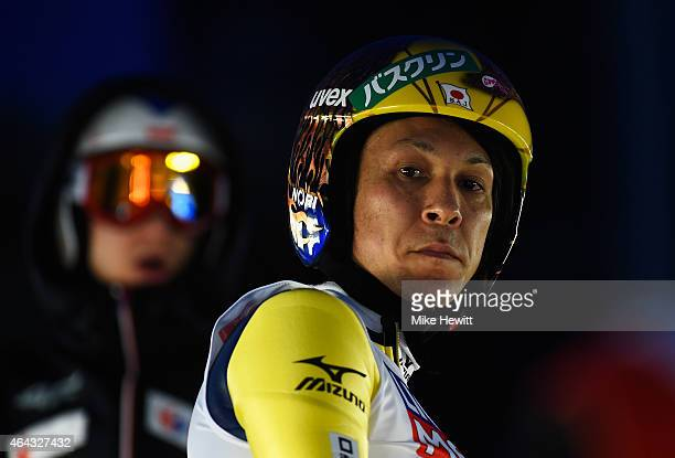Noriaki Kasai of Japan looks on during the Men's Large Hill training during the FIS Nordic World Ski Championships at the Lugnet venue on February 24...