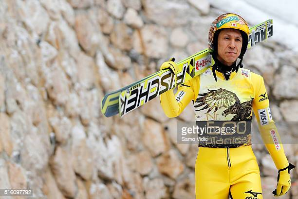 Noriaki Kasai of Japan looks on prior to day 1 of the FIS Ski Jumping World Cup at Letalnica on March 17 2016 in Planica Slovenia It's Noriaki...