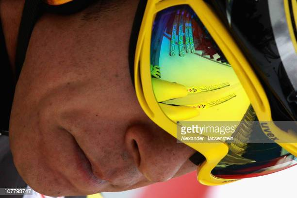 Noriaki Kasai of Japan looks on prior to the training round for the FIS Ski Jumping World Cup event at the 59th Four Hills ski jumping tournament at...