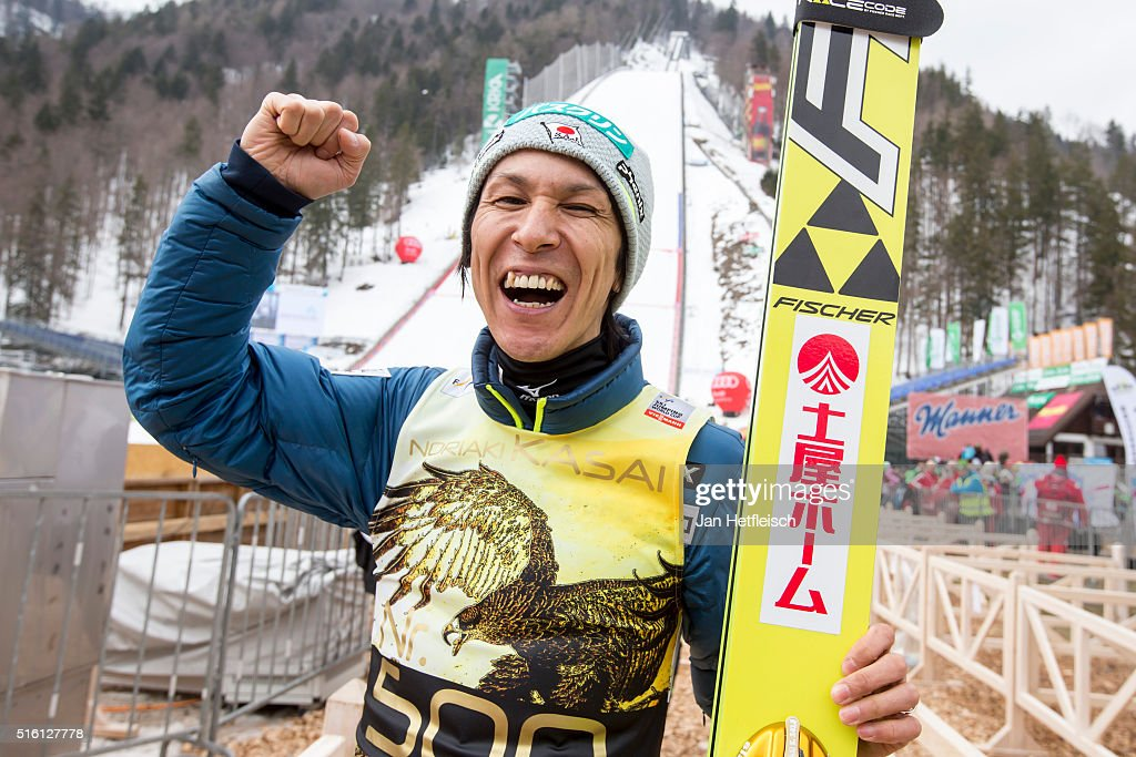 Noriaki Kasai of Japan poses for a picture during day 1 of the FIS Ski Jumping World Cup at Planica on March 17, 2016 in Planica, Slovenia. It's Noriaki Kasai's 500th appearance in the FIS Ski Jumping World Cup on March 17, 2016 in Planica, Slovenia.