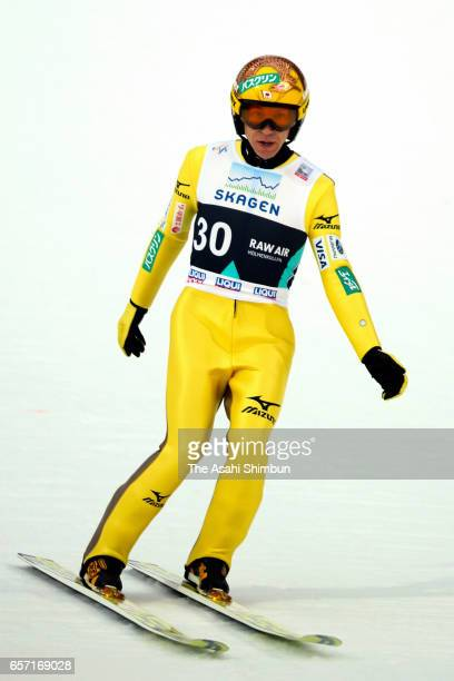 Noriaki Kasai of Japan reacts after competing in the second jump in the Men's Individual Large Hill during day two of the FIS Ski Jumping World Cup...