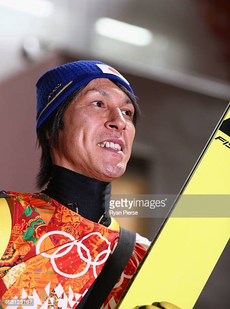 Noriaki Kasai of Japan reacts after the Men's Normal Hill Individual Ski Jumping Final on day 2 of the Sochi 2014 Winter Olympics at RusSki Gorki...