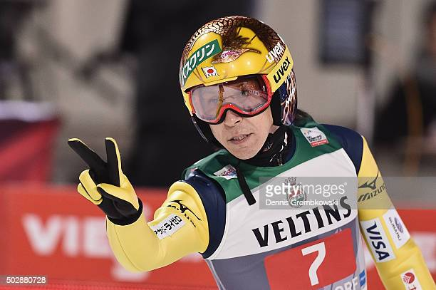 Noriaki Kasai of Japan reacts during his competition jump on Day 2 of the 64th Four Hills Tournament event on December 29 2015 in Oberstdorf Germany