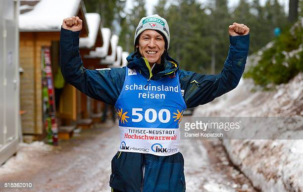 Noriaki Kasai of Japan reacts prior to the FIS Ski Jumping Worldcup on March 13 2016 in TitiseeNeustadt Germany
