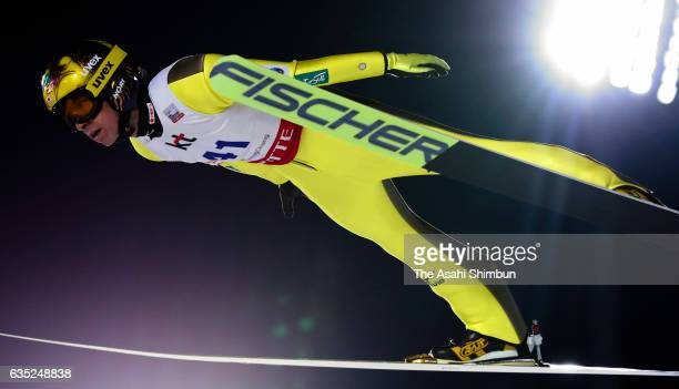 Noriaki Kasai of Japan soars during a practice session ahead of the FIS Ski Jumping World Cup PyeongChang at Alpensia Ski Jumping Center on February...