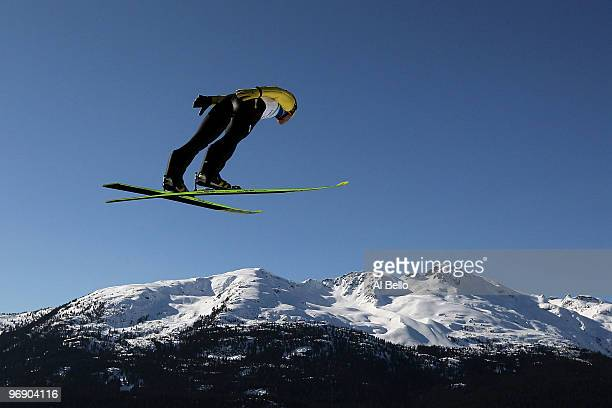 Noriaki Kasai of Japan soars on the Large Hill on day 9 of the 2010 Vancouver Winter Olympics at Ski Jumping Stadium on February 20 2010 in Whistler...