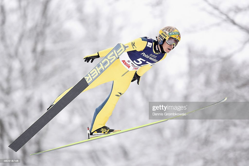 Noriaki Kasai of Japan soars through the air during his first training jump on Day One of the FIS Ski Jumping World Cup on January 30, 2015 in Willingen, Germany.