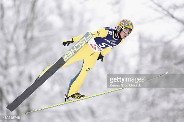 Noriaki Kasai of Japan soars through the air during his first training jump on Day One of the FIS Ski Jumping World Cup on January 30 2015 in...