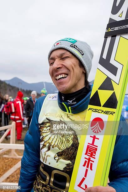 Noriaki Kasai of Japan talks to the media during day 1 of the FIS Ski Jumping World Cup at Planica on March 17 2016 in Planica Slovenia It's Noriaki...
