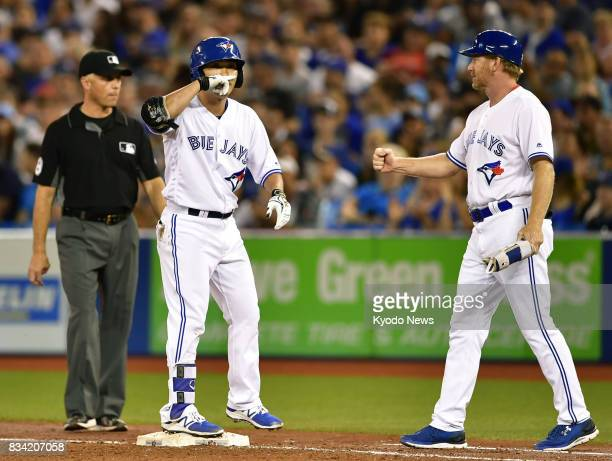 Norichika Aoki a Toronto Blue Jays outfielder singles in the third inning of the team's 53 victory over the Tampa Bay Rays in Toronto on Aug 17 2017...