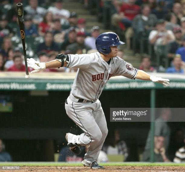 Norichika Aoki hits an infield single in the eighth inning of the Houston Astros' 76 loss to the Cleveland Indians at Progressive Field in Cleveland...