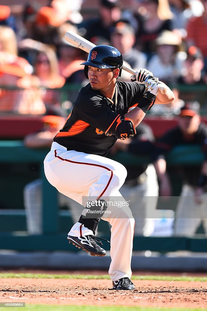 Norichika Aoki of of the San Francisco Giants bats during the spring training game between the San Francisco Giants and the San Diego Padres at the...