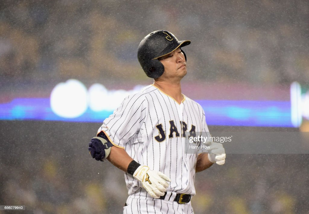 Norichika Aoki #7 of team Japan reacts to grounding out in the fourth inning against team United States during Game 2 of the Championship Round of the 2017 World Baseball Classic at Dodger Stadium on March 21, 2017 in Los Angeles, California.