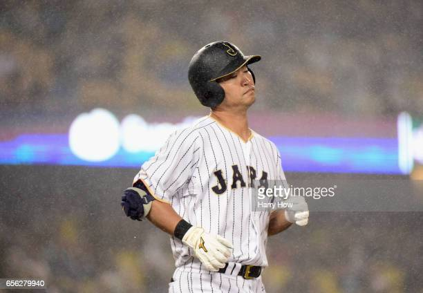 Norichika Aoki of team Japan reacts to grounding out in the fourth inning against team United States during Game 2 of the Championship Round of the...