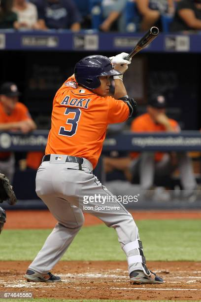 Norichika Aoki of the Astros at bat during the MLB regular season game between the Houston Astros and Tampa Bay Rays on April 23 at Tropicana Field...