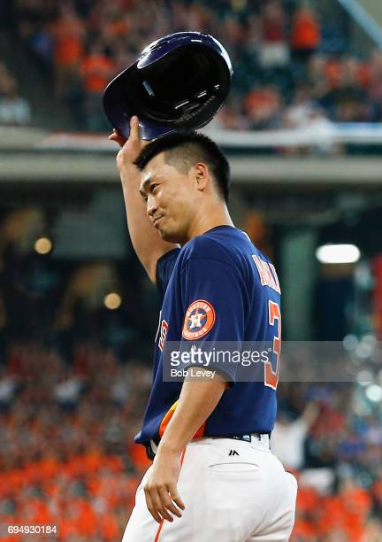 Norichika Aoki of the Houston Astros acknowledges the crowd after hitting a single in the sixth inning for career hit 2000 against the Los Angeles...