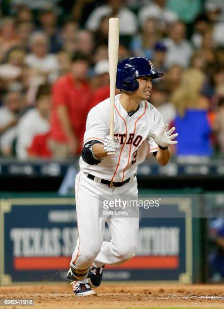 Norichika Aoki of the Houston Astros at bat against the Texas Rangers at Minute Maid Park on June 12 2017 in Houston Texas