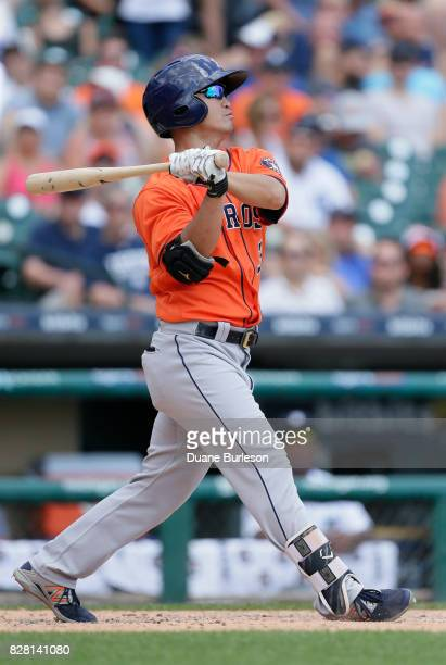 Norichika Aoki of the Houston Astros bats against the Detroit Tigers at Comerica Park on July 30 2017 in Detroit Michigan
