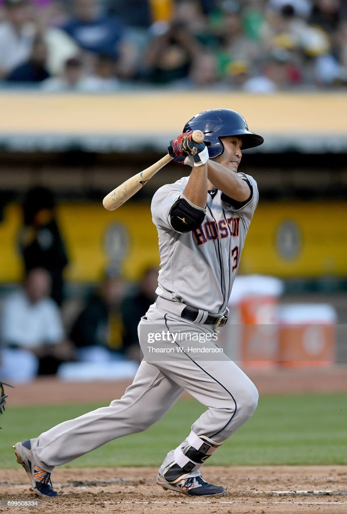 Norichika Aoki #3 of the Houston Astros bats against the Oakland Athletics in the top of the third inning at Oakland Alameda Coliseum on June 21, 2017 in Oakland, California.