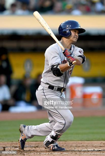 Norichika Aoki of the Houston Astros bats against the Oakland Athletics in the top of the third inning at Oakland Alameda Coliseum on June 21 2017 in...