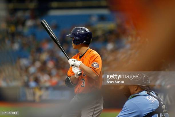 Norichika Aoki of the Houston Astros bats during the second inning of a game against the Tampa Bay Rays on April 23 2017 at Tropicana Field in St...