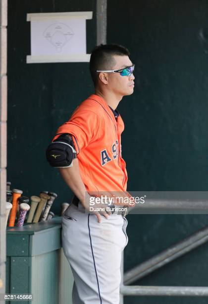 Norichika Aoki of the Houston Astros during a game against the Detroit Tigers at Comerica Park on July 30 2017 in Detroit Michigan