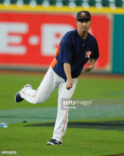 Norichika Aoki of the Houston Astros during batting practice at Minute Maid Park on June 17 2017 in Houston Texas