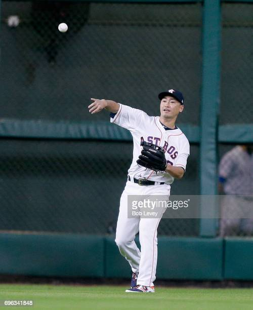 Norichika Aoki of the Houston Astros during game action against the Texas Rangers at Minute Maid Park on June 12 2017 in Houston Texas