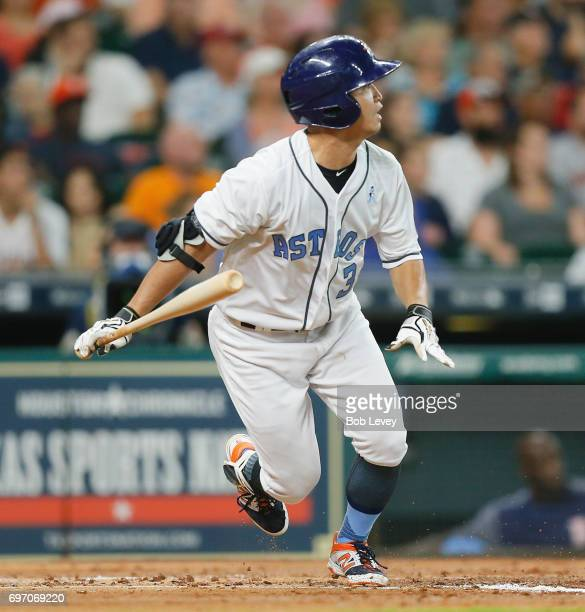 Norichika Aoki of the Houston Astros flies out in the second inning against the Boston Red Sox at Minute Maid Park on June 17 2017 in Houston Texas
