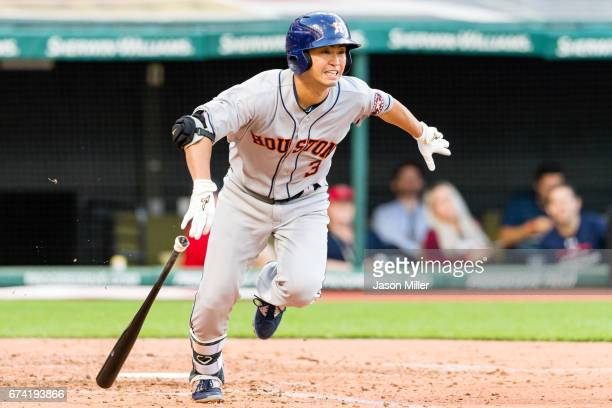 Norichika Aoki of the Houston Astros grounds into a finders choice and reaches first during the fourth inning against the Cleveland Indians at...