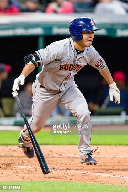 Norichika Aoki of the Houston Astros grounds out to second during the seventh inning against the Cleveland Indians at Progressive Field on April 27...