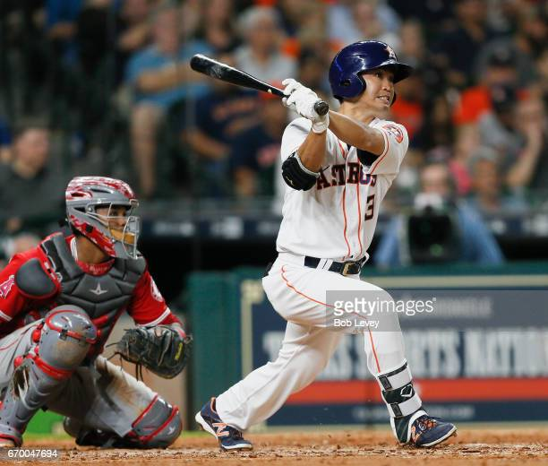 Norichika Aoki of the Houston Astros grounds out to the pitcher in the ninth inning against the Los Angeles Angels of Anaheim at Minute Maid Park on...