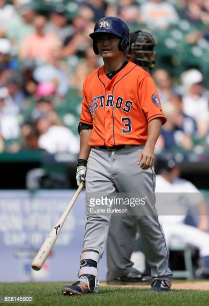 Norichika Aoki of the Houston Astros heads for the dugout after striking out against the Detroit Tigers at Comerica Park on July 30 2017 in Detroit...