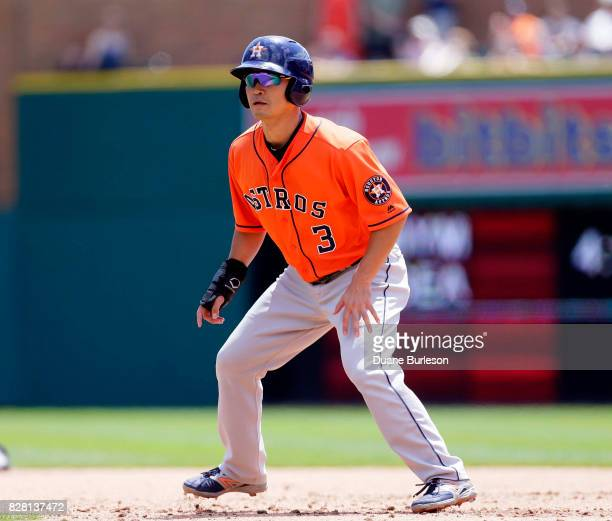 Norichika Aoki of the Houston Astros leads off first base against the Detroit Tigers at Comerica Park on July 30 2017 in Detroit Michigan