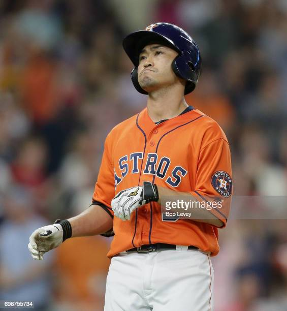 Norichika Aoki of the Houston Astros lines out in the seventh inning against the Boston Red Sox at Minute Maid Park on June 16 2017 in Houston Texas