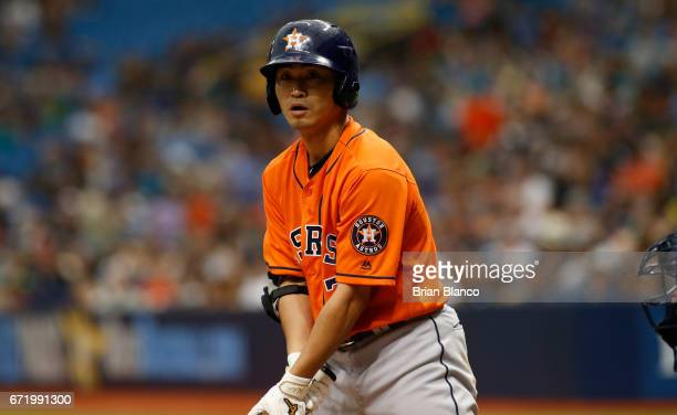 Norichika Aoki of the Houston Astros looks back toward the dugout while at bat during the fourth inning of a game against the Tampa Bay Rays on April...
