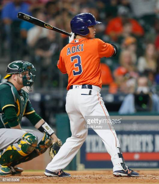 Norichika Aoki of the Houston Astros pops out in the second inning against the Oakland Athletics at Minute Maid Park on April 28 2017 in Houston Texas