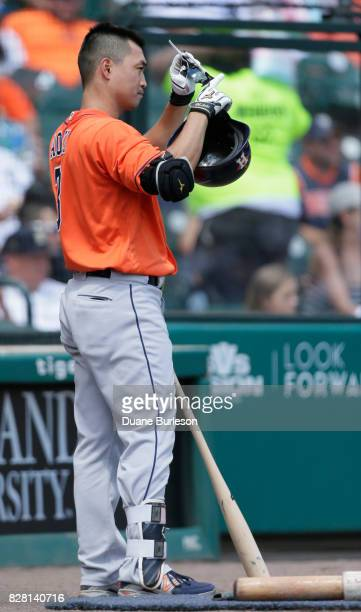 Norichika Aoki of the Houston Astros prepares to bat against the Detroit Tigers at Comerica Park on July 30 2017 in Detroit Michigan