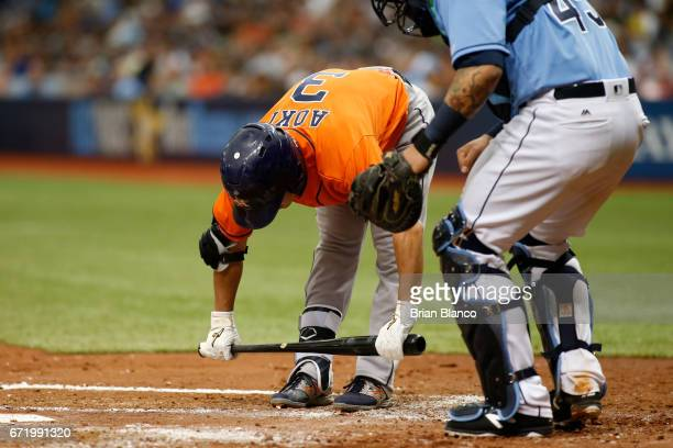 Norichika Aoki of the Houston Astros prepares to bat during the second inning of a game against the Tampa Bay Rays on April 23 2017 at Tropicana...