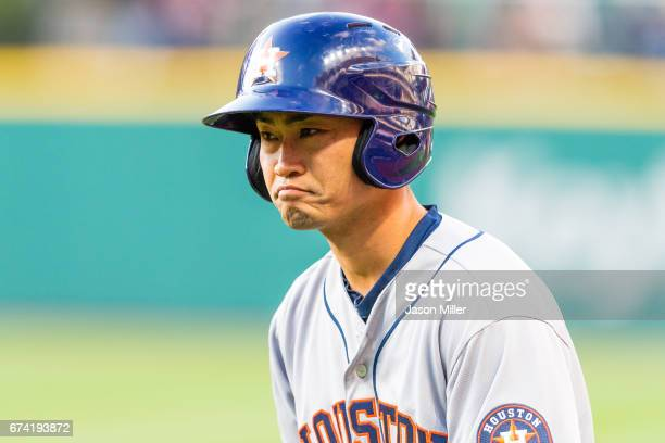 Norichika Aoki of the Houston Astros reacts after grounding into a finders choice and reaches first during the fourth inning against the Cleveland...