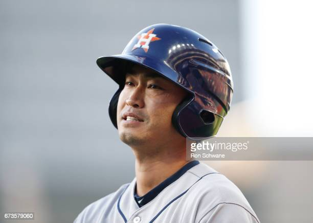 Norichika Aoki of the Houston Astros reacts after grounding out to first base against the Cleveland Indians during the fourth inning at Progressive...