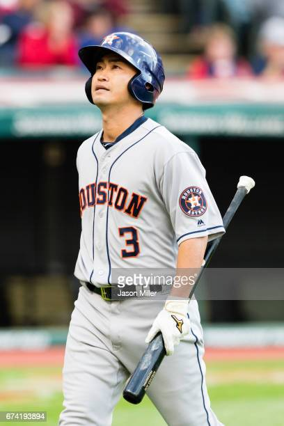 Norichika Aoki of the Houston Astros reacts after striking out during the third inning against the Cleveland Indians at Progressive Field on April 27...