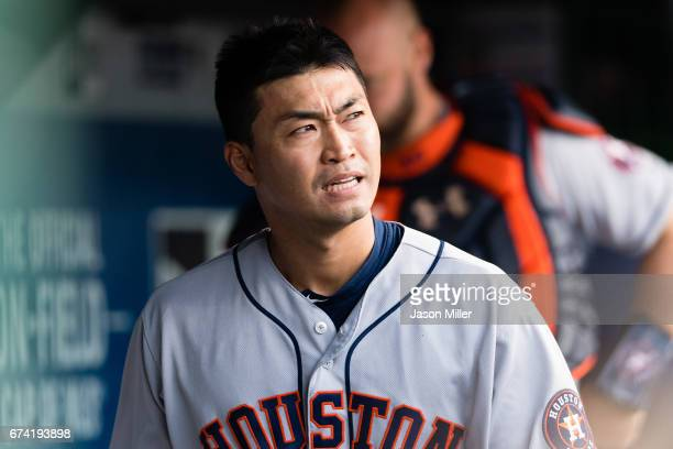 Norichika Aoki of the Houston Astros rects after being tagged out on a steal attempt during the fourth inning against the Cleveland Indians at...