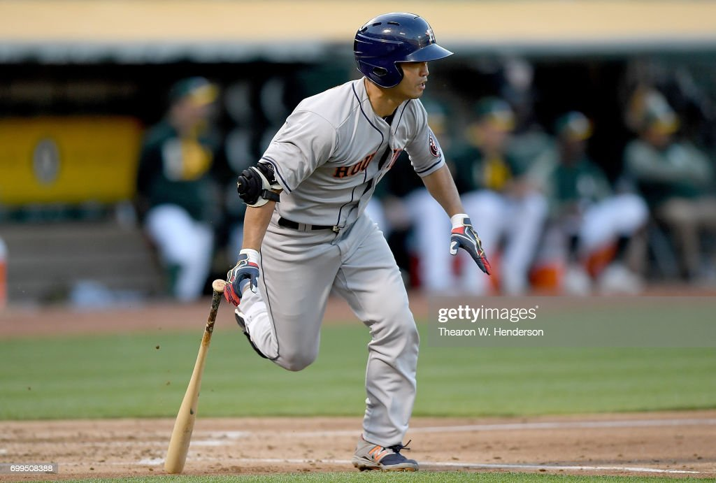 Norichika Aoki #3 of the Houston Astros runs up the first baseline after hitting a single to left field against the Oakland Athletics in the top of the third inning at Oakland Alameda Coliseum on June 21, 2017 in Oakland, California.