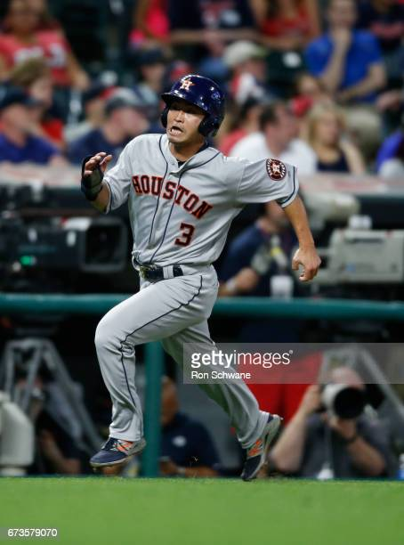Norichika Aoki of the Houston Astros scores on a double by Marwin Gonzalez off Bryan Shaw of the Cleveland Indians during the eighth inning at...