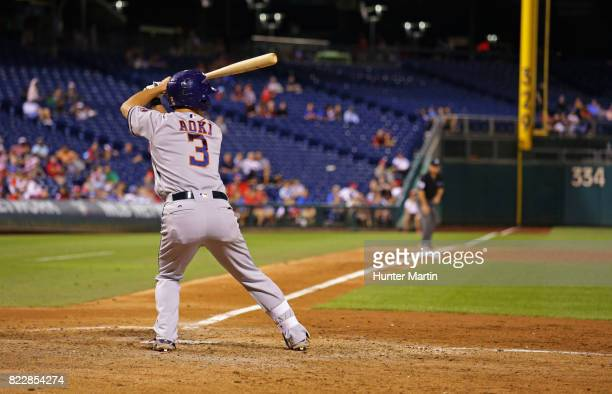 Norichika Aoki of the Houston Astros stands at the plate as he hits in the ninth inning during a game against the Philadelphia Phillies at Citizens...