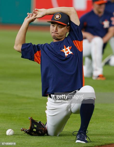 Norichika Aoki of the Houston Astros stretches during batting practice before playing the Oakland Athletics at Minute Maid Park on April 29 2017 in...