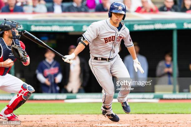 Norichika Aoki of the Houston Astros strikes out during the third inning against the Cleveland Indians at Progressive Field on April 27 2017 in...